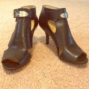Michael Kors open toe black leather bootie